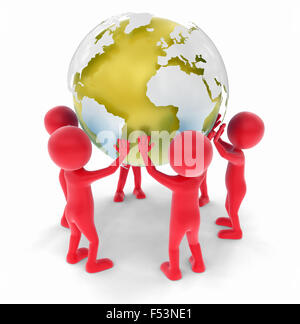 3D people support the world - Stock Photo