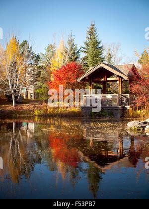 The covered pavilion and koi pond at Garden Park (Boffins Public House), Innovation Place in Saskatoon, Saskatchewan, - Stock Photo