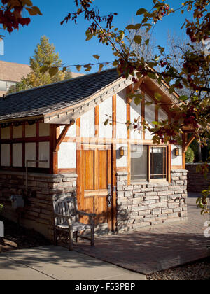 A view of the Japanese chalet at Garden Park (Boffins Public House), Innovation Place in Saskatoon, Saskatchewan, - Stock Photo