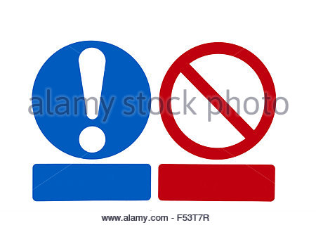 Two street signs, digitally cleaned up, side by side ready for adding your own captions - Stock Photo