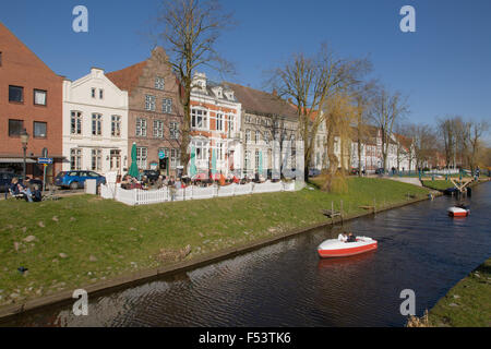 06.04.2015, Friedrichstadt, Schleswig-Holstein, Germany - Pedal boats in the middle moat, one of the many canals - Stock Photo