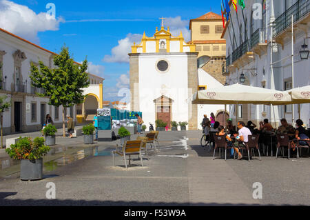 El Salvador church in Praça de Sertorio, Évora( UNESCO World Heritage Site). Alentejo, Portugal - Stock Photo