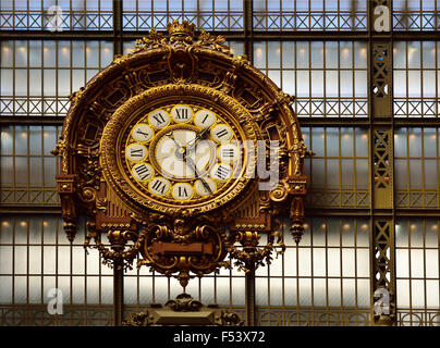 Belle Epoque train station clock, Musée Quai d'Orsay, Paris, Ile de France, France - Stock Photo