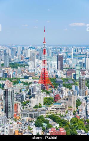Tokyo Tower view from Roppongi Hills observatory, Minato-Ku,Tokyo,Japan - Stock Photo