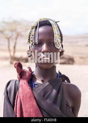 Maasai young girl in Arusha region, Tanzania, Africa. - Stock Photo