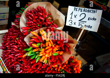 Peperoncini chilli peppers on sale at Rialto Market in Venice, Italy - Stock Photo