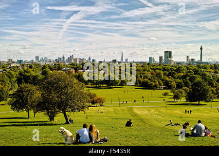 London Skyline from Primrose Hill in Camden Town in London England on a sunny day in early Autumn - Stock Photo