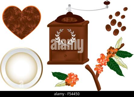 Coffee grinder and various design elements in vintage design - not auto traced - Stock Photo