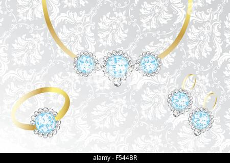 Jewelry set with topaz and diamonds - Illustration on silver-white fabric - Stock Photo
