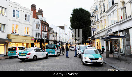 Taxi Rank at East Street Brighton with Southern Taxi company drivers waiting in a queue for customers - Stock Photo