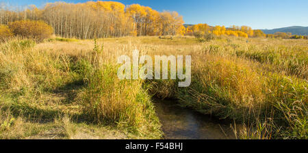 Colorful Fall Montana river and valley landscape. - Stock Photo
