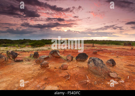 Volcanic rocks and colorful skies at sunset in Sarigua national park (desert), Herrera province, Republic of Panama.