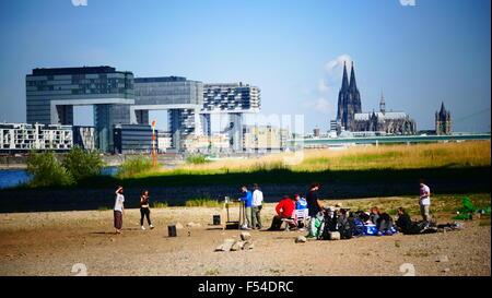 Europe Germany Cologne Köln skyline Crane Buildings - Stock Photo