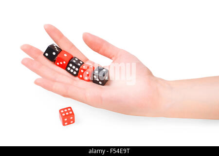 Female hand with dices isolated on white with clipping path - Stock Photo