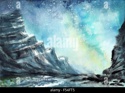 Space watercolor scene with night rocks against starry sky - Stock Photo