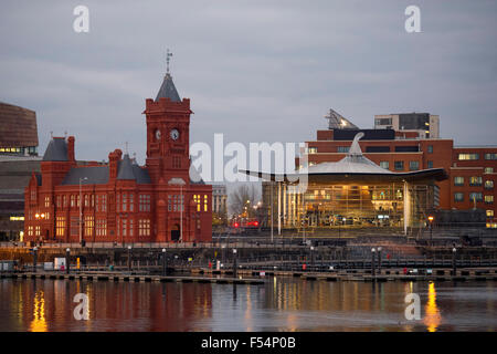 The Senedd (National Assembly Building) at Cardiff Bay, South Wales, at night. - Stock Photo
