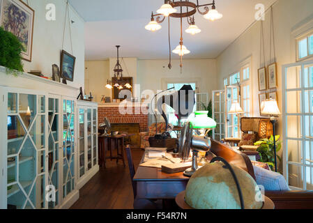 Living room interior at the winter estate home, Seminole Lodge, of famous inventor Thomas Edison at Fort Myers, - Stock Photo