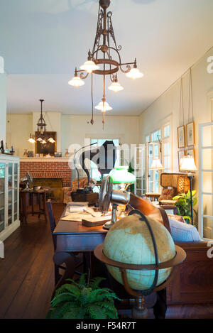 Living room with gramophone and globe at winter estate home, Seminole Lodge, of inventor Thomas Edison, Fort Myers, - Stock Photo