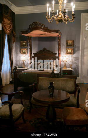 ... Nottoway Plantation 19th Century Antebellum Mansion Master Bedroom With  Chandelier And Half Tester Bed In