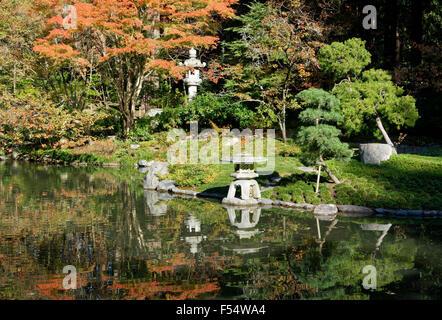 Stone lantern and pond, Nitobe Memorial Garden, a traditional Stock ...
