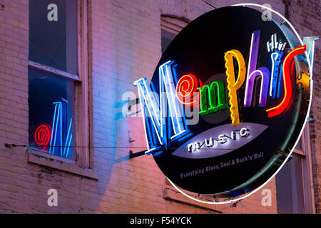 Sign for Memphis Music venue in legendary Beale Street entertainment district famous for Rock and Roll and Blues - Stock Photo