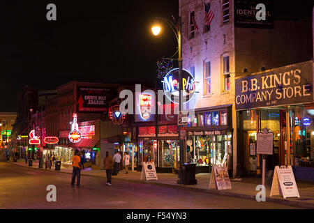 BB King Store music venues in Beale Street entertainment district famous for Rock and Roll and Blues, Memphis, Tennessee - Stock Photo
