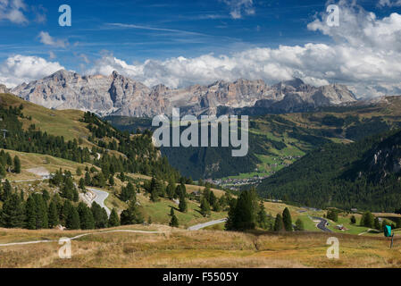 Looking over the Dolomites in Val Gardena on the way to Ortisei (St. Ulrich), South Tirol, Italy - Stock Photo