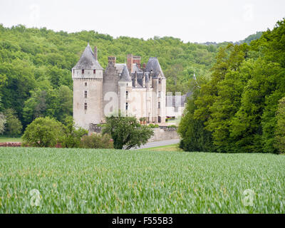 Chateau below a Wheat field. A green crop of wheat frames a view of Chateau de Montpoupon in the Loire countryside. - Stock Photo