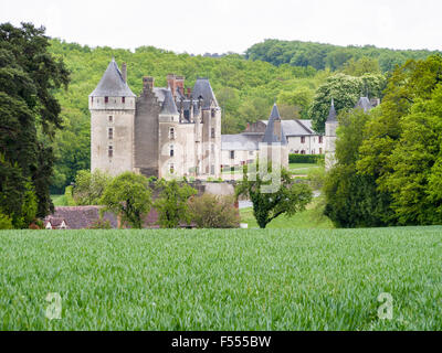 Chateau below a Wheat field. A green crop of wheat frames a view of Château de Montpoupon in the Loire countryside. - Stock Photo