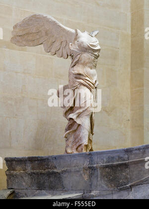 Marble sculpture of Winged Victory of Samothrace. A 2nd century BC sculpture of The Greek godess Nike or Victory - Stock Photo