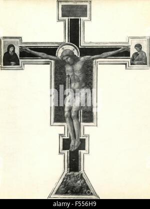 Church of Santa Maria Novella, Florence: Crucifixion, painted by Giotto - Stock Photo