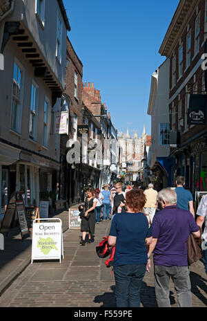 Stonegate in summer York North Yorkshire England UK United Kingdom GB Great Britain - Stock Photo