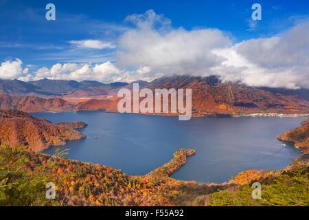 Lake Chuzenji (Chuzenjiko, 中禅寺湖) near Nikko in Japan. Photographed from Mount Hangetsuyama on a beautiful day in - Stock Photo