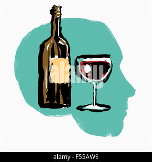 Illustration of red wine bottle and glass in human head against white background - Stock Photo