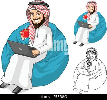 High Quality Middle Eastern Businessman Holding a Cup of Coffee and Notebook with Sit Pose Cartoon Character Include - Stock Photo