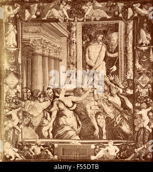 Tapestry Gallery, Florence: Jesus Christ shown to the people by Pilate, tapestry N. Karcher, cartoon by C. Salviati - Stock Photo