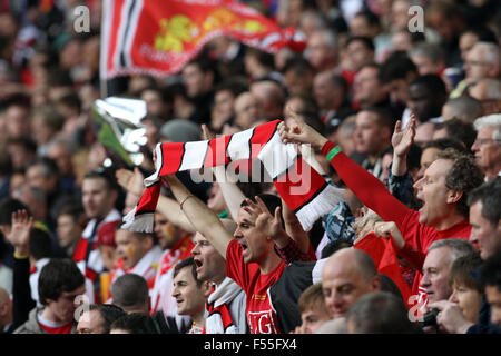 English football fans are seen at Wembley Stadium in 2013 - Stock Photo