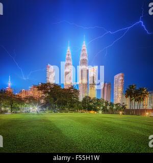 Kuala Lumpur night Scenery in the park, Malaysia. - Stock Photo