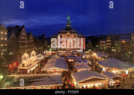Hansestadt Lueneburg, Lüneburg, christmas market at market square, Lower Saxony, Germany, Europe - Stock Photo