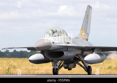 Belgian Air Force F-16 fighter jet during the NATO Tiger Meet at Schleswig-Jagel airbase - Stock Photo