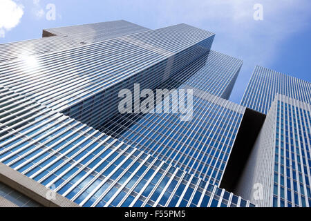 Partial view of the modern high-rise building 'De Rotterdam'. - Stock Photo
