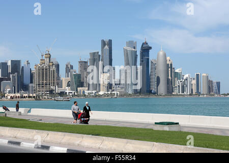 07.03.2015, Doha, Qatar, Qatar - Skyline view of the beach promenade with the Al Bidda Doha Corniche Tower, World - Stock Photo