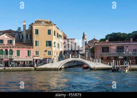 Grand Canal, Ponte de la Croce over Rio dei Tolentini, San Nicola da Tolentino church behind, Santa Croce district, - Stock Photo