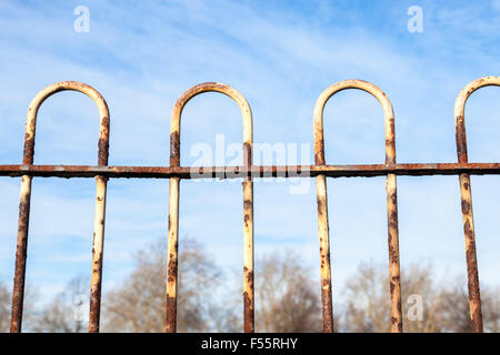 Rusty metal railings with old peeling white paint, England, UK - Stock Photo