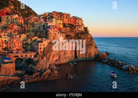 Manarola is a town and commune located in the province of La Spezia, Liguria, northwestern Italy. - Stock Photo