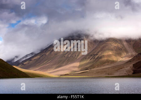 India, Himachal Pradesh, Spiti, Chandra Taal, Full Moon Lake shore early morning - Stock Photo