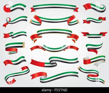UAE Flag Ribbon Set, design element, vector illustration - Stock Photo