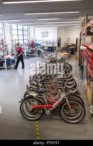 28.01.2015, Berlin, Berlin, Germany  - German Rail provides a look behind the scenes at Call a Bike, the city bike - Stock Photo