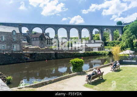 Viaduct crossing the river Rance at Dinan, Brittany, France, - Stock Photo