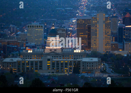 View of Utah Capitol building during night time - Stock Photo